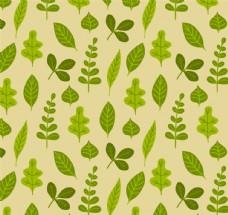 绿色树叶设计无缝背景矢量图