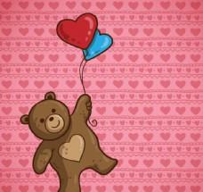 玩偶熊和彩色气球矢量素材
