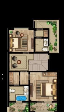 户型图 房地产 别墅 分层