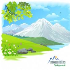 卡通冬天雪山场景