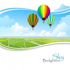 田野热气球风景