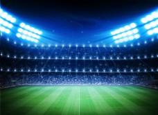 足球場地高光燈草地觀眾席