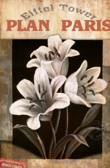 欧式复古风花卉装饰画