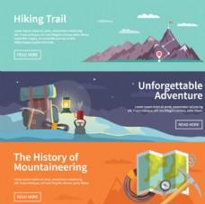 登山运动banner矢量图