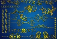 金色邊框花紋素材