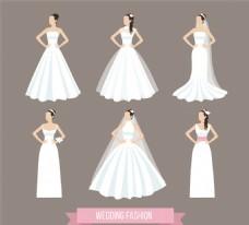 穿婚紗的新娘矢量素材