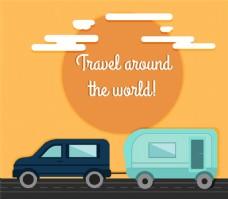 私家车和房车环球旅行插画矢量素