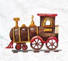 水彩玩具火车矢量素材