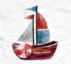 水彩帆船玩具矢量素材